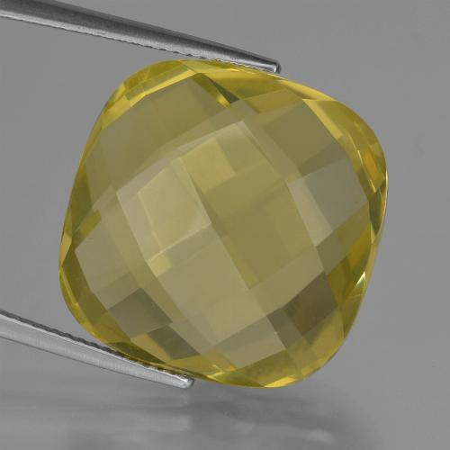 Medium-Light Yellow Cuarzo Gema - 27.8ct Corte Cojín Checkerboard (ambos lados) (ID: 417334)