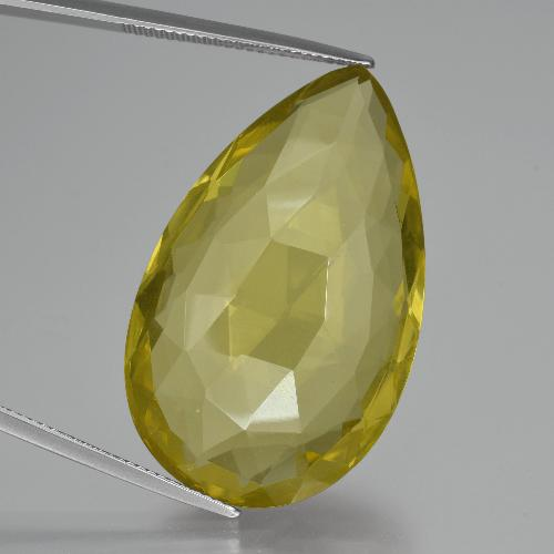 thumb image of 55.1ct Pear Double-Sided Checkerboard Lemon Quartz (ID: 417375)