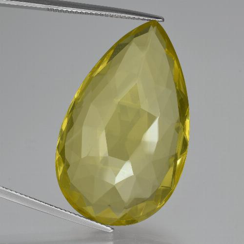 thumb image of 54.9ct Pear Double-Sided Checkerboard Lemon Quartz (ID: 417376)