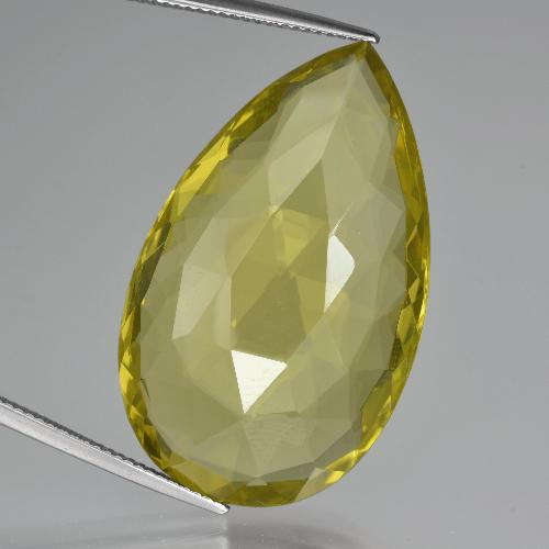 Lemon Quartz Gem - 51.5ct Pear Double-Sided Checkerboard (ID: 417378)