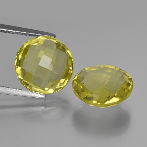 Pineapple Yellow Cuarzo Gema - 5.3ct Checkerboard circular (en ambos lados) (ID: 417683)
