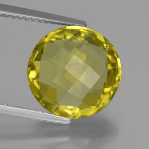 5.3ct Round Checkerboard (double sided) Lemon Quartz Gem (ID: 417847)