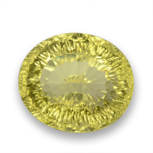 Medium Yellow Cuarzo Gema - 31.3ct Corte Cóncavo y Óvalo (ID: 458178)