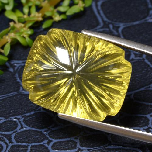Medium Yellow Quarzo Gem - 19.5ct Fancy Carved Cushion (ID: 470099)