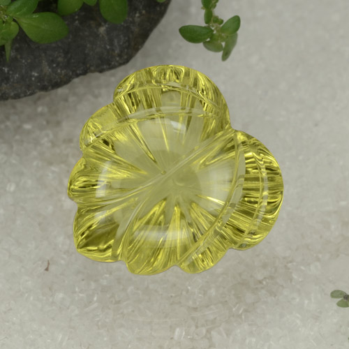 15.3ct Carved Leaf Lemon Quartz Gem (ID: 470102)