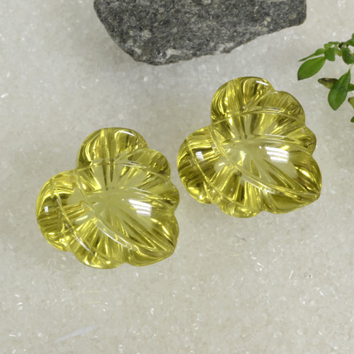 Lemon Quartz Gem - 12.4ct Carved Leaf (ID: 470110)
