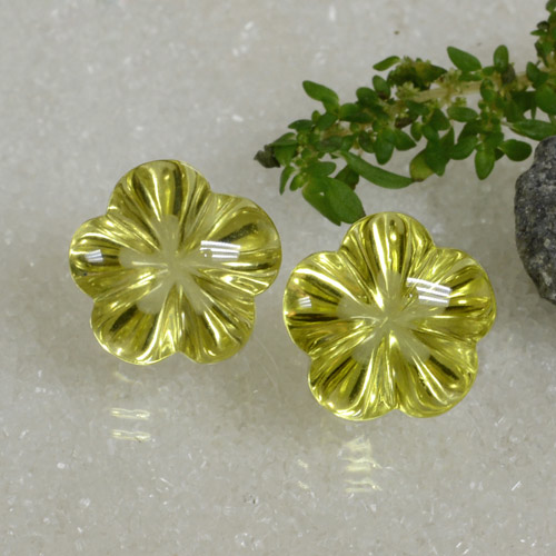 Medium Yellow Quartz Gem - 9.4ct Carved Flower (ID: 470112)