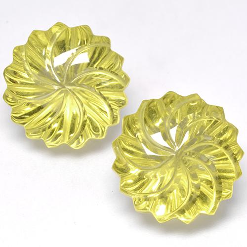 Lemon Quartz Gem - 12.3ct Carved Flower (ID: 470114)