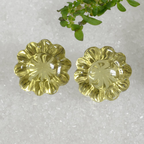 Lemon Quartz Gem - 7.7ct Carved Flower (ID: 470115)