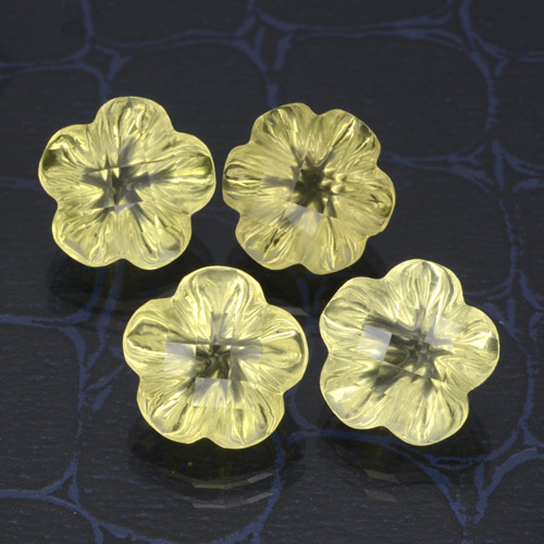 Lemon Quartz Gem - 3.8ct Carved Flower (ID: 470145)