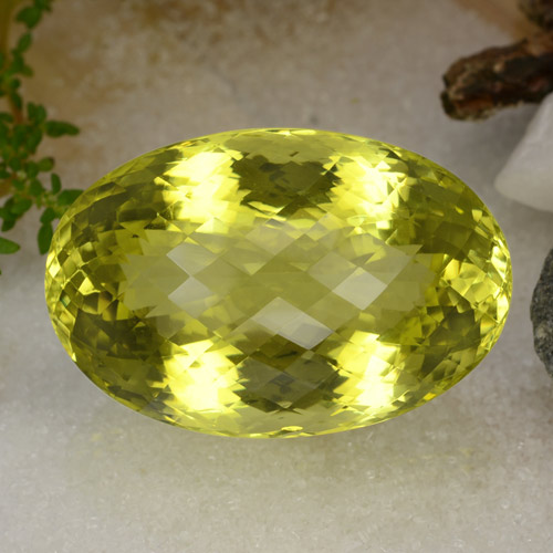 Lemon Quartz Gem - 115.7ct Oval Checkerboard (ID: 470295)