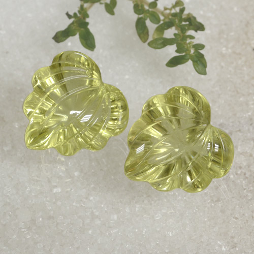 thumb image of 19.9ct Carved Leaf Lemon Quartz (ID: 470480)