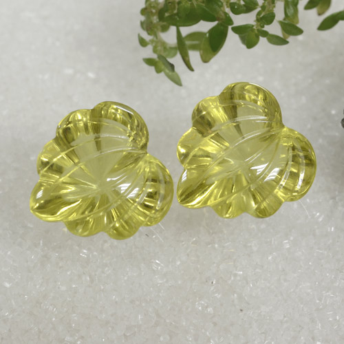 Greenish Yellow Quartz Gem - 8.2ct Carved Leaf (ID: 470486)