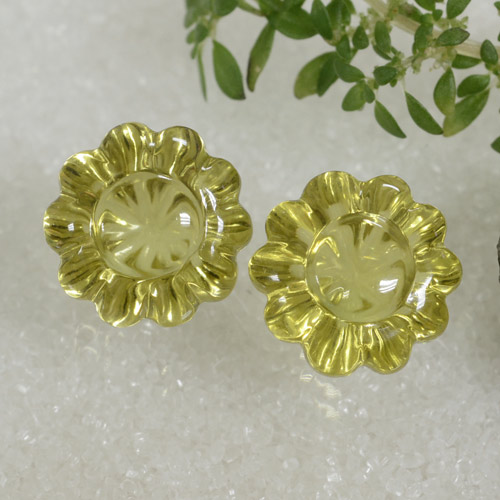 7.3ct Carved Flower Lemon Quartz Gem (ID: 470489)