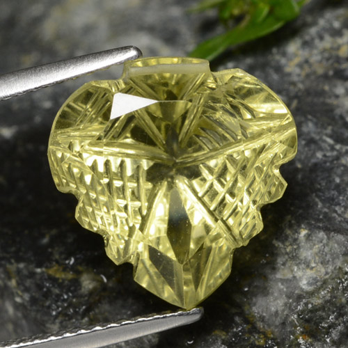 Lemon Quartz Gem - 8.6ct Fantasy Carved Leaf (ID: 474620)