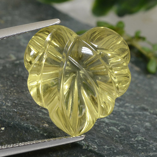 Lemon Quartz Gem - 12.7ct Fantasy Carved Leaf (ID: 474623)