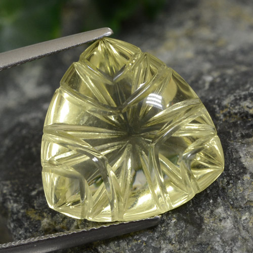 Lemon Quartz Gem - 10.4ct Fantasy Carved Leaf (ID: 474628)