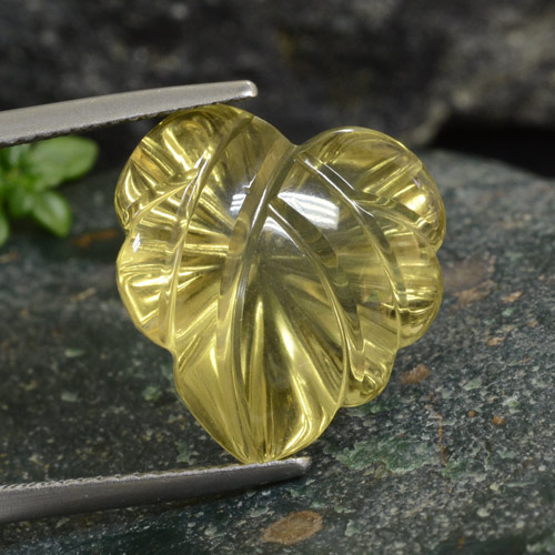Lemon Quartz Gem - 12ct Fantasy Carved Leaf (ID: 474968)