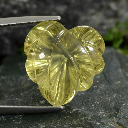 Lemon Quartz Gem - 14.2ct Fantasy Carved Leaf (ID: 474974)