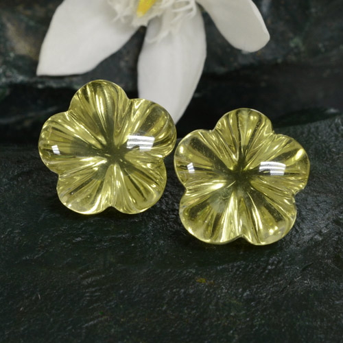 Light Greenish Yellow Quartz Gem - 7.6ct Carved Flower (ID: 475234)
