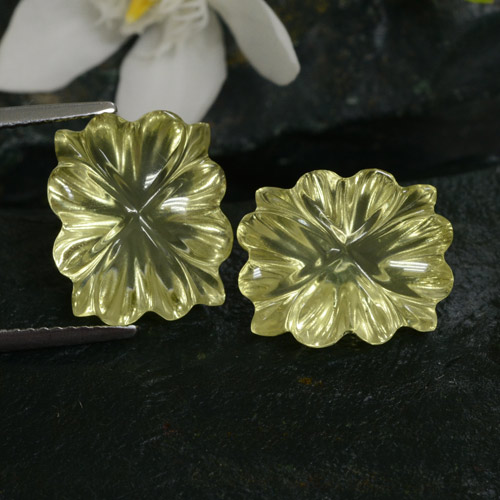 Lemon Quartz Gem - 6.7ct Carved Flower (ID: 475235)