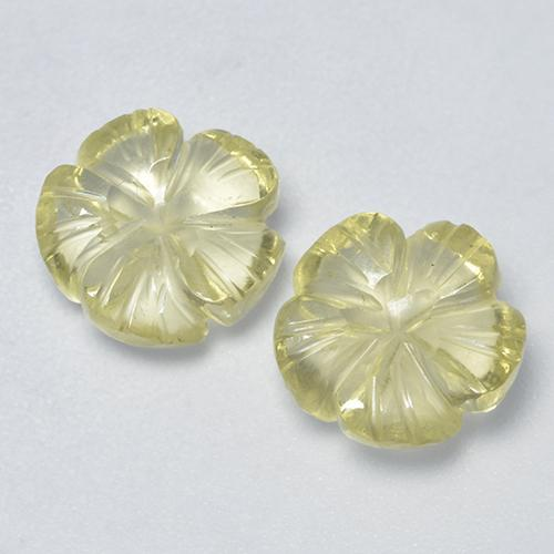 Lemon Quartz Gem - 2.2ct Carved Flower (ID: 485504)