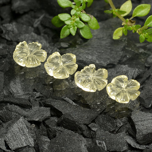 Lemon Quartz Gem - 0.9ct Carved Flower (ID: 485567)