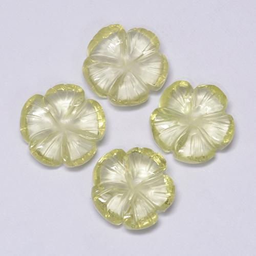 Lemon Quartz Gem - 1.9ct Carved Flower (ID: 485581)