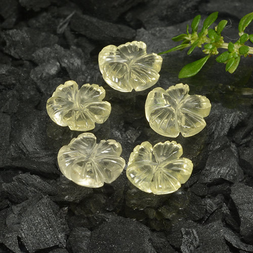 Lemon Quartz Gem - 1.5ct Carved Flower (ID: 485614)