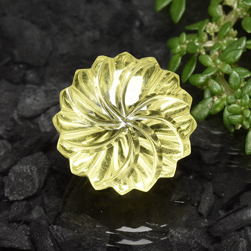 Lemon Quartz Gem - 13.4ct Fantasy Carved Flower (ID: 493817)