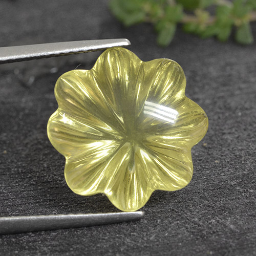 Lemon Quartz Gem - 9.3ct Fantasy Carved Flower (ID: 495426)