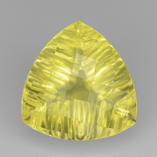 Vivid Yellow Quartz Gem - 6.4ct Trillion Checkerboard (ID: 499955)