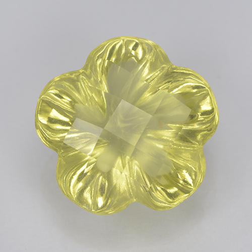 Lemon Quartz Gem - 3.2ct Fantasy Carved Flower (ID: 500189)