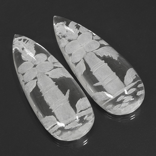 White Quartz Gem - 62.7ct Carved Pear (ID: 501697)