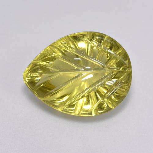 Lemon Quartz Gem - 5.5ct Carved Leaf (ID: 516362)