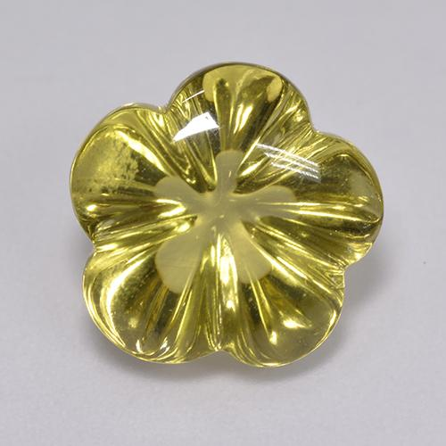 Lemon Quartz Gem - 6.8ct Carved Flower (ID: 516367)