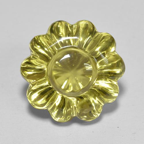 Lemon Quartz Gem - 7.2ct Carved Flower (ID: 516662)