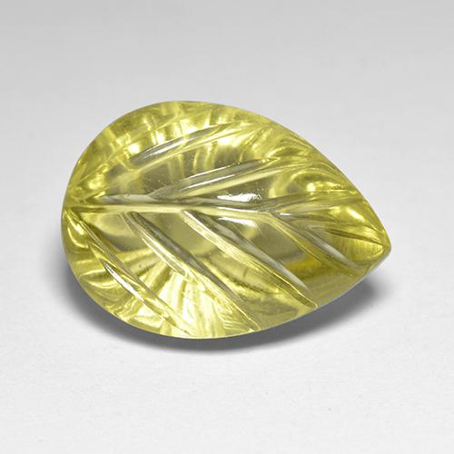 Medium Yellow Quartz Gem - 6.2ct Carved Leaf (ID: 517782)
