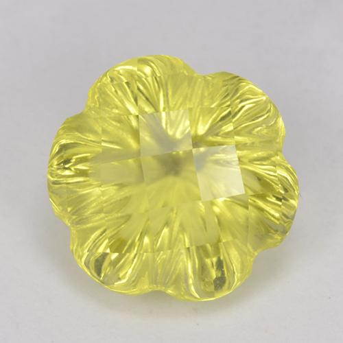 Lemon Quartz Gem - 3.3ct Carved Flower (ID: 518734)
