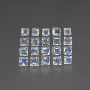 White Blue Rainbow Moonstone Gem - 0.2ct Square Facet (ID: 297890)