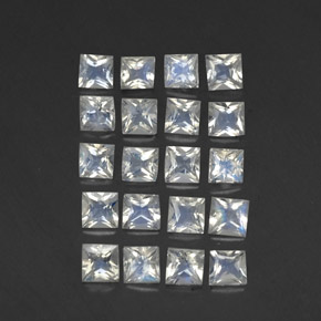 Blue White Rainbow Moonstone Gem - 0.1ct Princess-Cut (ID: 306412)