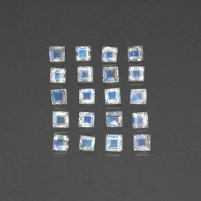 Blue White Rainbow Moonstone Gem - 0.1ct Square Facet (ID: 333972)