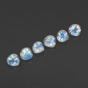 Blue White Rainbow Moonstone Gem - 0.2ct Pear Facet (ID: 338755)
