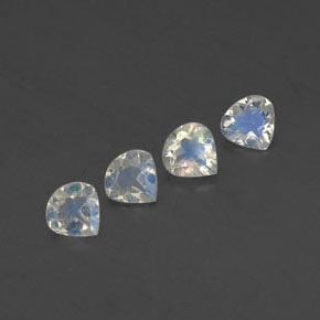 Blue White Rainbow Moonstone Gem - 0.3ct Pear Facet (ID: 338784)