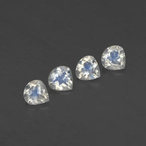 Blue White Rainbow Moonstone Gem - 0.3ct Pear Facet (ID: 338789)