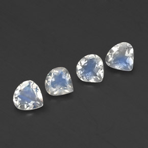 Blue White Rainbow Moonstone Gem - 0.3ct Pear Facet (ID: 338836)