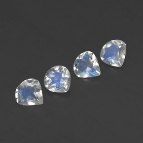 White Blue Rainbow Moonstone Gem - 0.3ct Pear Facet (ID: 338838)