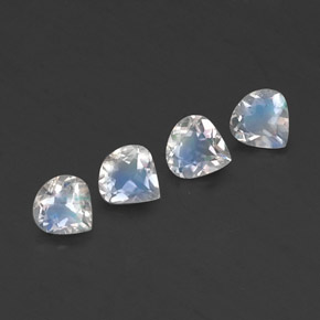 Blue White Rainbow Moonstone Gem - 0.3ct Pear Facet (ID: 338843)