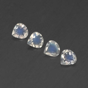 Blue White Rainbow Moonstone Gem - 0.3ct Pear Facet (ID: 338917)