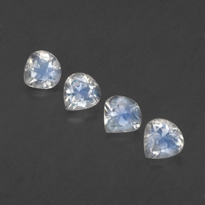 White Blue Rainbow Moonstone Gem - 0.4ct Pear Facet (ID: 339064)